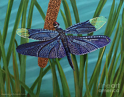 Dragonfly On A Cattail Print by Rosemary Vasquez Tuthill
