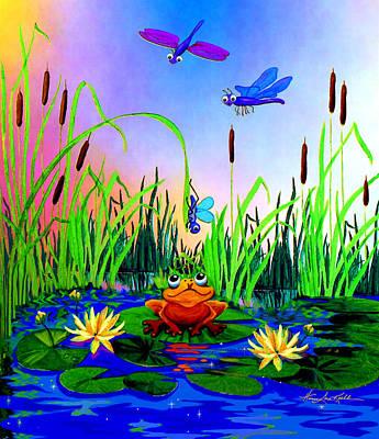 Dragonfly Pond Print by Hanne Lore Koehler