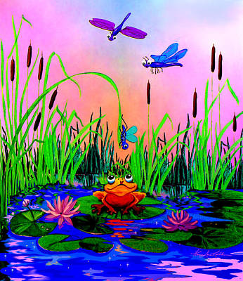 Dragonfly Pond Sunset Original by Hanne Lore Koehler