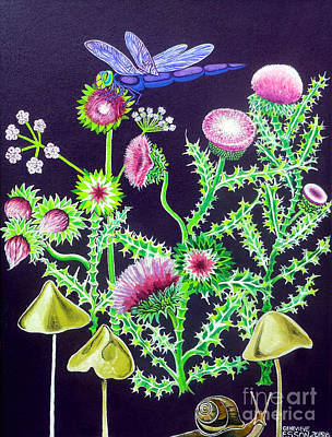 Purple Mushroom Painting - Dragonfly Thistle And Snail by Genevieve Esson