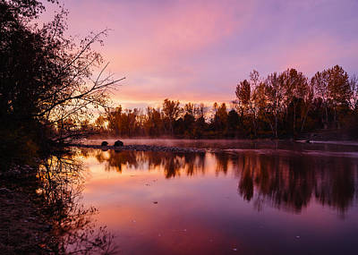 Dramatic Autumn Sunrise Along Boise River Boise Idaho Print by Vishwanath Bhat