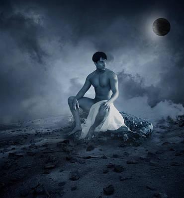 Sensual Digital Art - Dramatic Blue  by Mark Ashkenazi