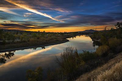 Dramatic Sunset Over Boise River Boise Idaho Print by Vishwanath Bhat