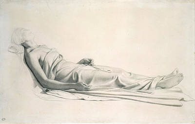 Drawing - Drapery Study For The Figure Of The Dying Mary Magdalen by Paul Delaroche