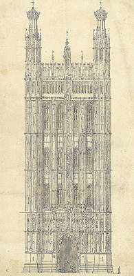 Drawing For The Houses Of Parliament Print by Sir Charles Barry