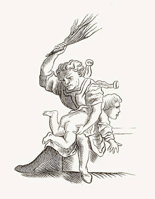 Beating Drawing - Drawing Of A Man Spanking A Child by Vintage Design Pics