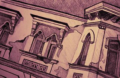 Drawing Of An Old Venetian Palace Print by Oana Unciuleanu