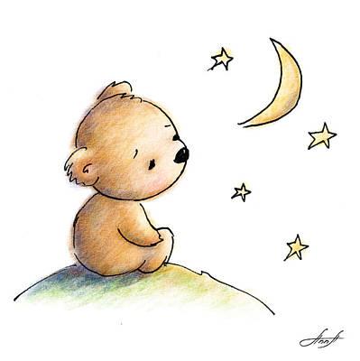 Drawing Of Cute Teddy Bear Watching The Star Print by Anna Abramska