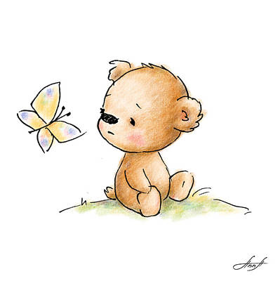 Drawing Of Cute Teddy Bear With Butterfly Print by Anna Abramska