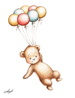 Drawing Of Teddy Bear Flying With Balloons Print by Anna Abramska