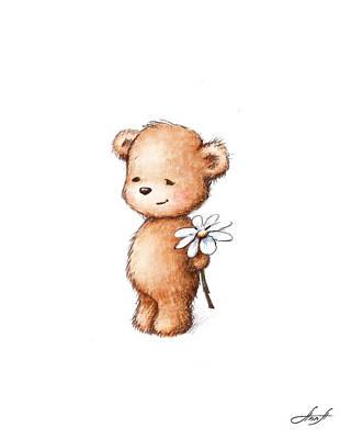 Drawing Of Teddy Bear With Daisy Print by Anna Abramska