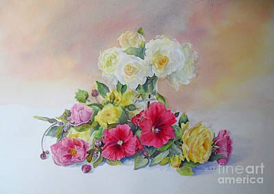 Roses Tremieres Hollyhocks Painting - Dream by Beatrice Cloake
