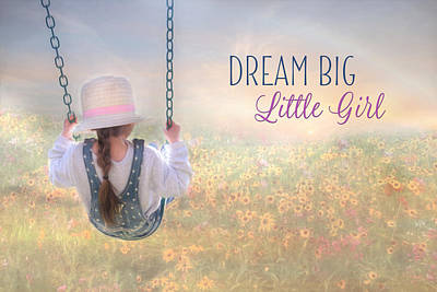 Child Swinging Mixed Media - Dream Big Little Girl by Lori Deiter
