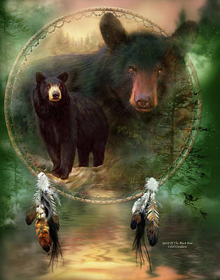 Spirit Catcher Painting - Dream Catcher - Spirit Of The Black Bear by Carol Cavalaris