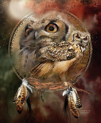 Print Card Mixed Media - Dream Catcher - Spirit Of The Owl by Carol Cavalaris