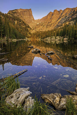 Mountain Reflection Lake Summit Mirror Photograph - Dream Lake Moments by Thomas Schoeller