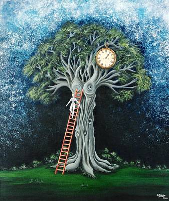 Fantasy Tree Mixed Media - Clock Dream by Graciela Bello