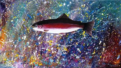 Dream Of The Rainbow Trout Print by Lee Pantas