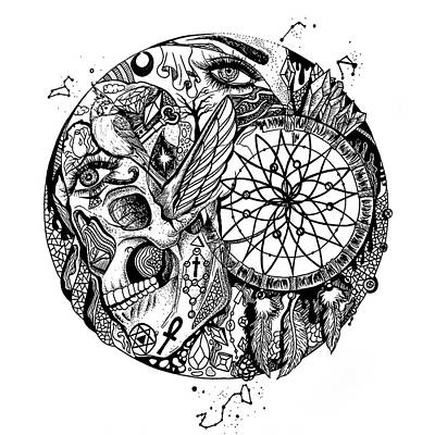 Drawing - Dreamcatcher Circle Drawing No. 1 by Kenal Louis