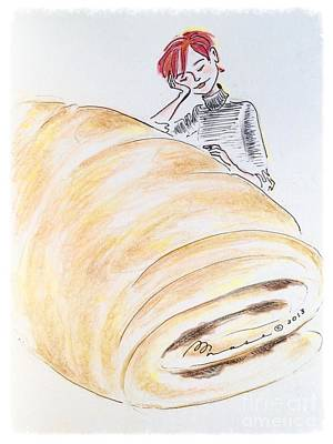 Bakery Drawing - Le Grand Croissant by Barbara Chase