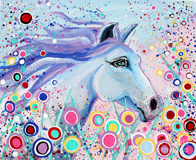 Nature Painting - Dreaming In Color Whimsical Horse Art By Valentina Miletic by Valentina Miletic