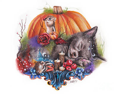 Cat Drawing - Dreaming Of Autumn by Sheena Pike