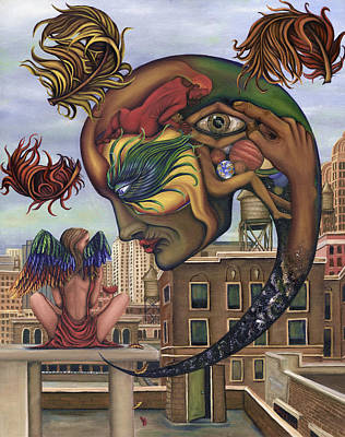 Rooftops Painting - Dreams Lost The Molting by Karen Musick