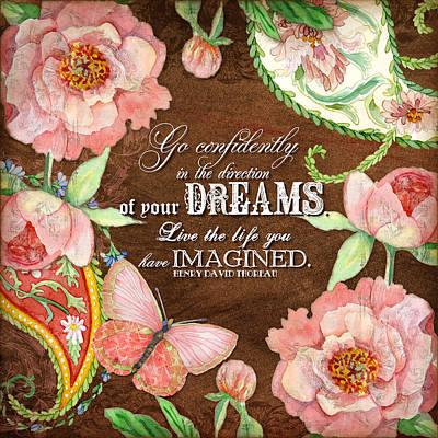 Dreams - Thoreau Print by Audrey Jeanne Roberts