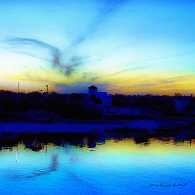 Dreamscape Blue Water Sunset  Print by Nada Frazier