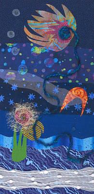Fabric Mixed Media - Dreamscape Night by Julia Berkley