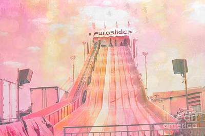 Lemonade Photograph - Dreamy Carnival Rides Festival Art - Euroslide by Kathy Fornal