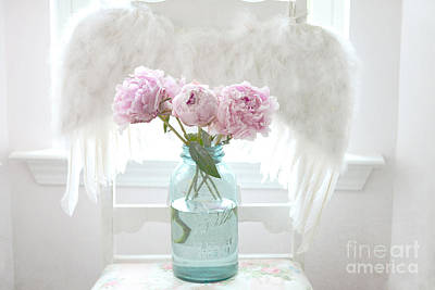 Dreamy Ethereal Angel Wings With Peonies In Vintage Mason Aqua Blue Ball Jar - Shabby Chic Peonies  Print by Kathy Fornal