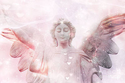 Dreamy Heavenly Angel Art - Ethereal Angel Hearts And Stars - Celestial Pink Angel Art  Print by Kathy Fornal