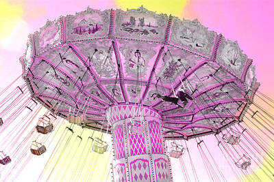 Surreal Ferris Wheel Photograph - Dreamy Lavender Pink Yellow Carnival Ferris Wheel Swing Ride by Kathy Fornal