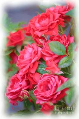 Garden Digital Art - Dreamy Red Roses - Digital Art by Carol Groenen