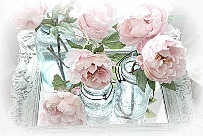 Dreamy Shabby Chic Peonies And Vintage Mason Ball Jars Romantic Cottage Floral Art Print by Kathy Fornal