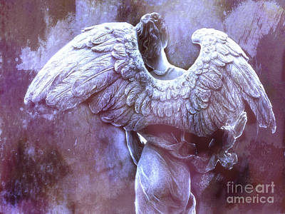 Dreamy Surreal Ethereal Purple Angel Wings - Purple Angel Photography Wings Print by Kathy Fornal