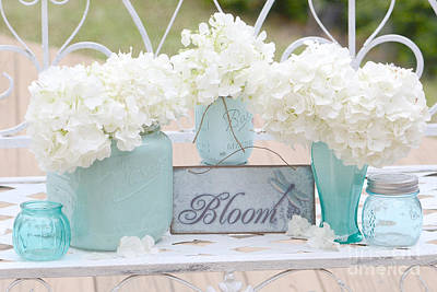 Aqua Blue Photograph - Dreamy White Hydrangeas - Shabby Chic White Hydrangeas In Aqua Blue Teal Mason Ball Jars by Kathy Fornal