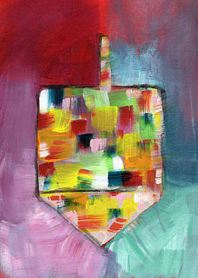 Dreidel Of Many Colors- Art By Linda Woods Print by Linda Woods