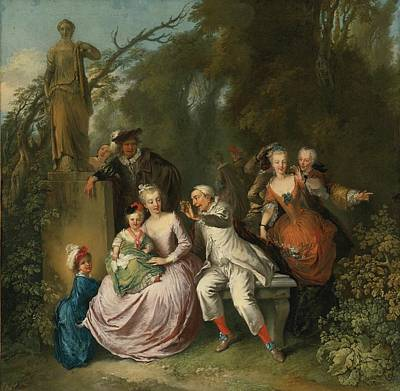 Christian Painting - Dresden A Comedic Performance In A Park Setting by Christian Wilhelm