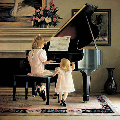 Little Girl Painting - Dress Rehearsal by Greg Olsen