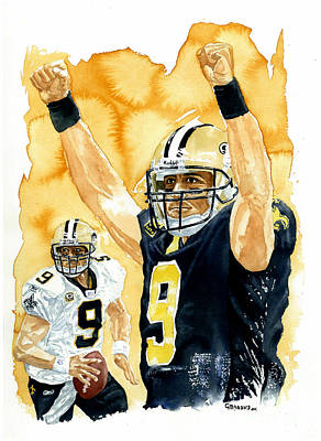 Sports Celebities Painting - Drew Brees - Champion by George  Brooks