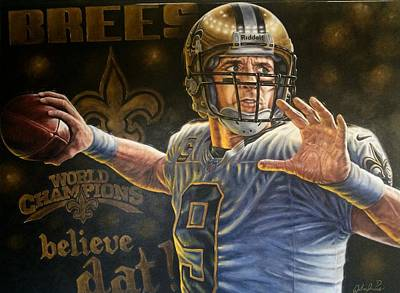 Drew Brees 48 X 36 Inch Original Painting For Sale  Original by Sports Art World Wide John Prince