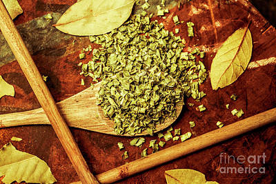 Chives Photograph - Dried Chives In Wooden Spoon by Jorgo Photography - Wall Art Gallery