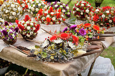 Historical Re-enactments Photograph - Dried Flowers Arrangements At Fair by Arletta Cwalina