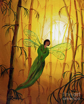 Dragonflies Painting - Drifting Bamboo Spirit by Laura Iverson