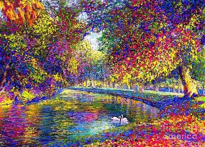 Woodlands Scene Painting - Drifting Beauties, Swans, Colorful Modern Impressionism by Jane Small