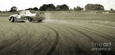 Drifting Tracks Japanese Car Drifting Round A Corner With Tyres Smoking Print by Andy Smy