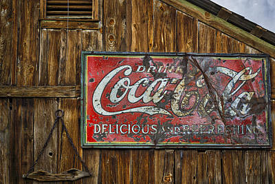 Drink Coca Cola Sign Print by Susan Candelario