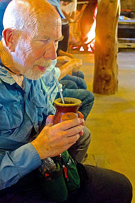Fragua Photograph - Drinking Mate At La Fragua Ranch In Patagonia Near Bariloche-argentina   by Ruth Hager